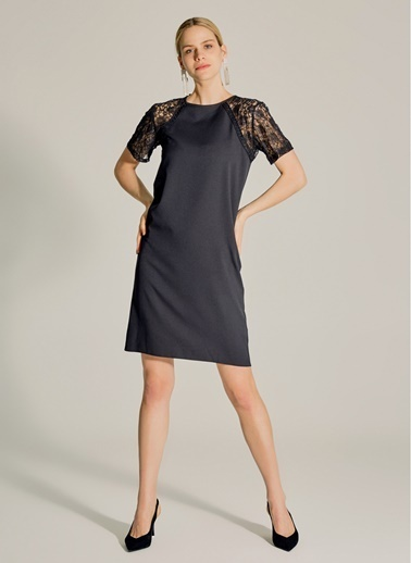 NGSTYLE Kolları Dantel Elbise Siyah